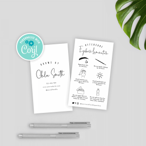 eyebrows care card template with minimalist manhattan design