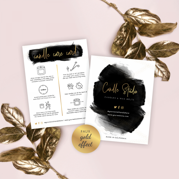 editable candle care card template with black watercolor and gold effects