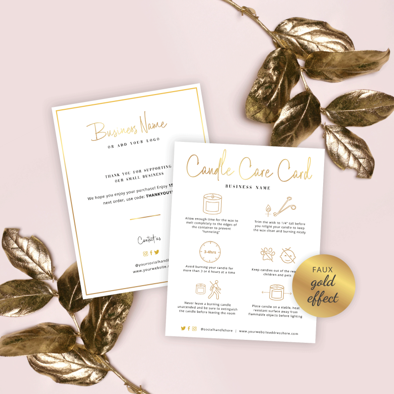 candle care card template with faux gold effects