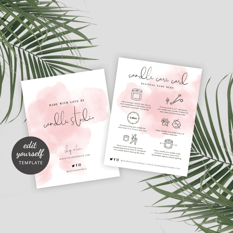 printable candle care card template with a pink watercolor background