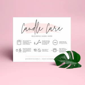 candle care instructions template with watercolor effects
