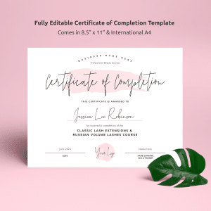 watercolor certificate of completion template