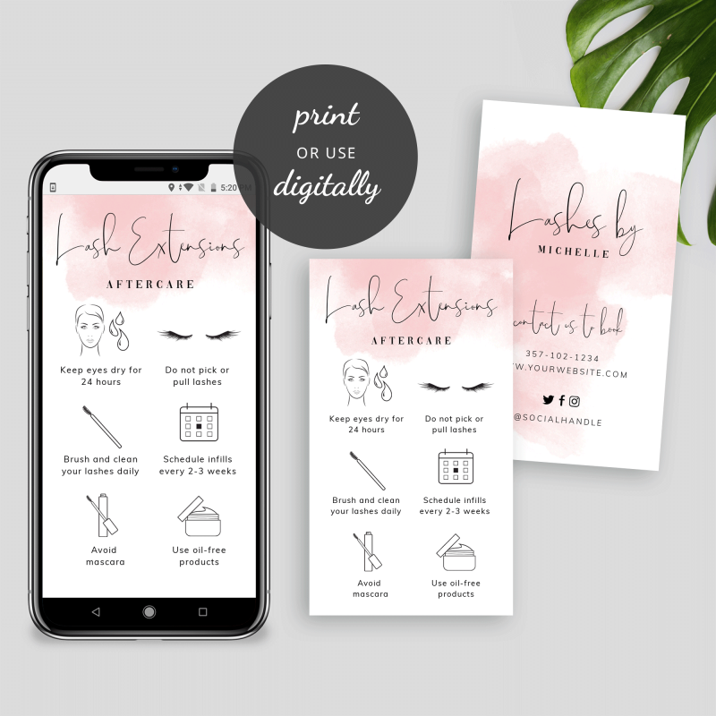 pink watercolor lash extensions care card templates