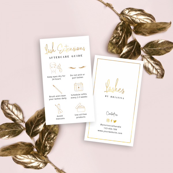 printable eyelashes care guide template with faux gold text effects