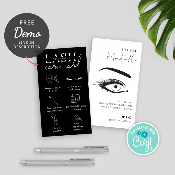 minimalist editable eyelash care card template