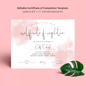 editable certificate of completion template with pink watercolor effects