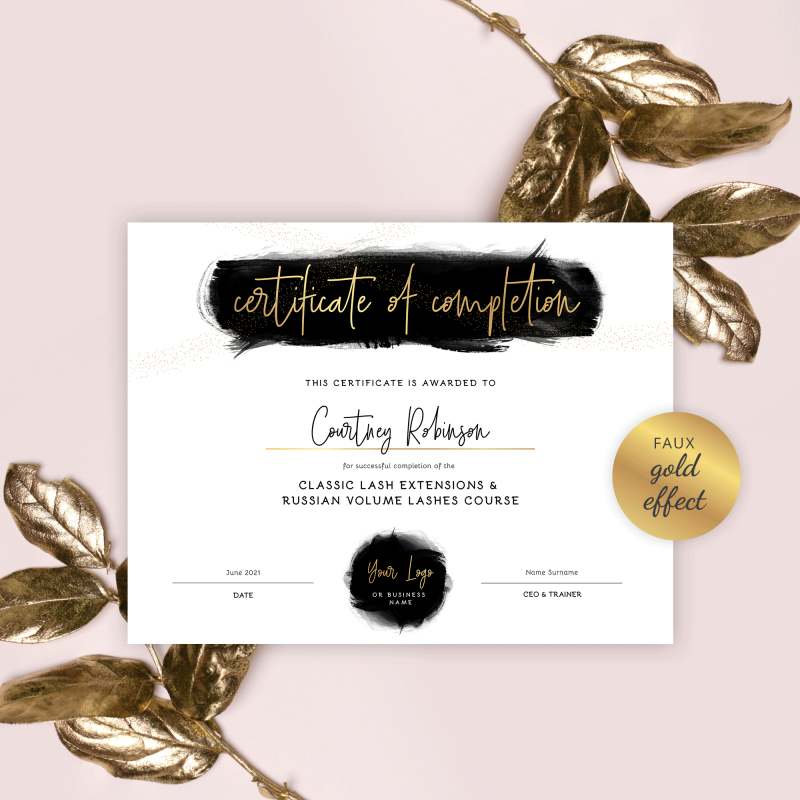 certificate of completion template with black watercolor and gold effects