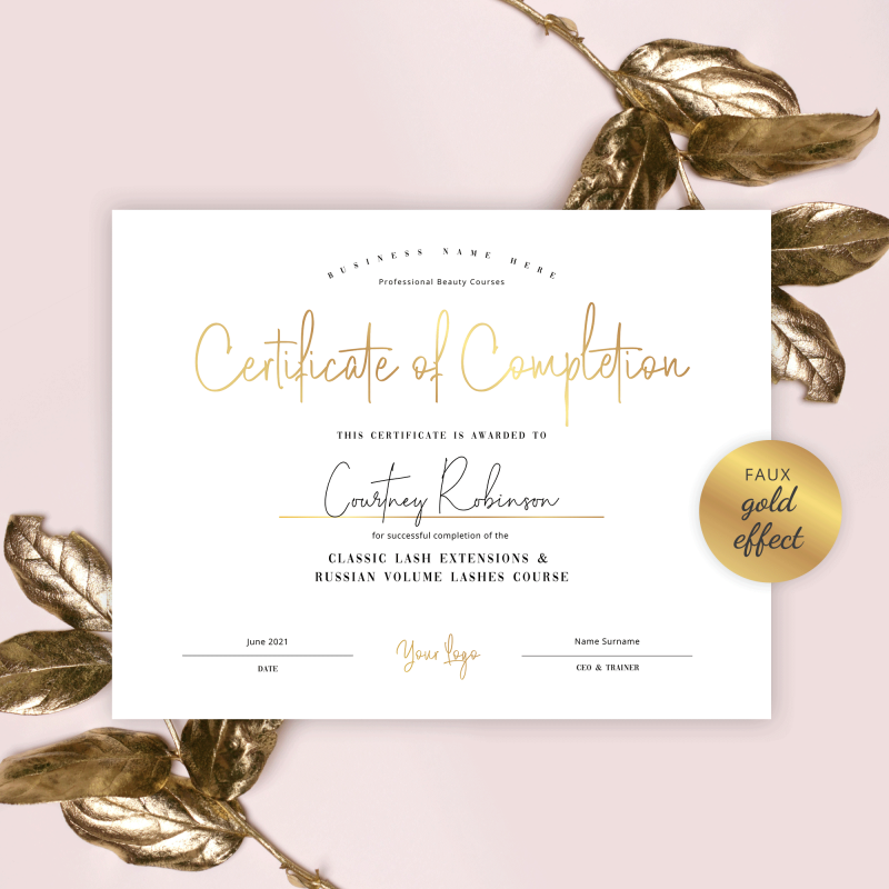 beauty course certificate template with faux gold effects