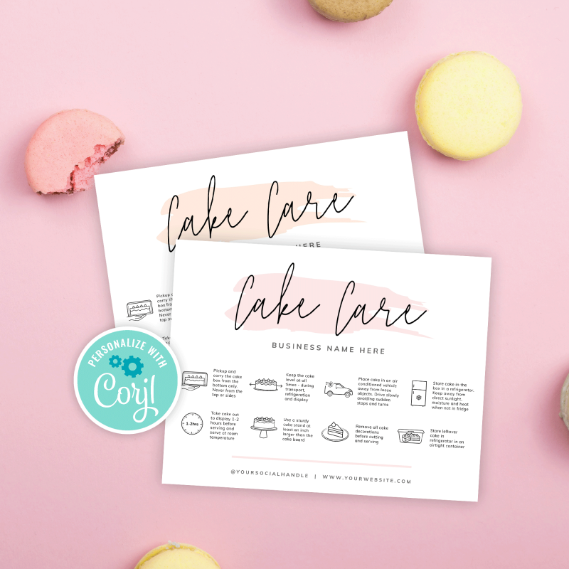 cake care card template with watercolor background effects
