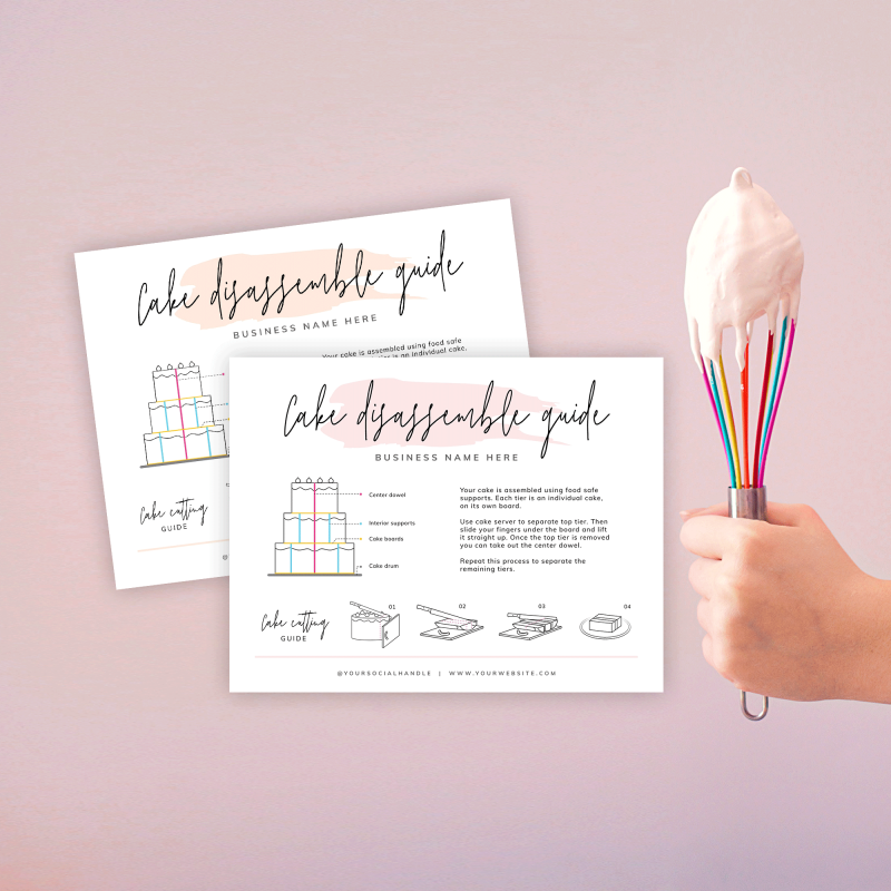 cake serving instructions template with watercolor effects
