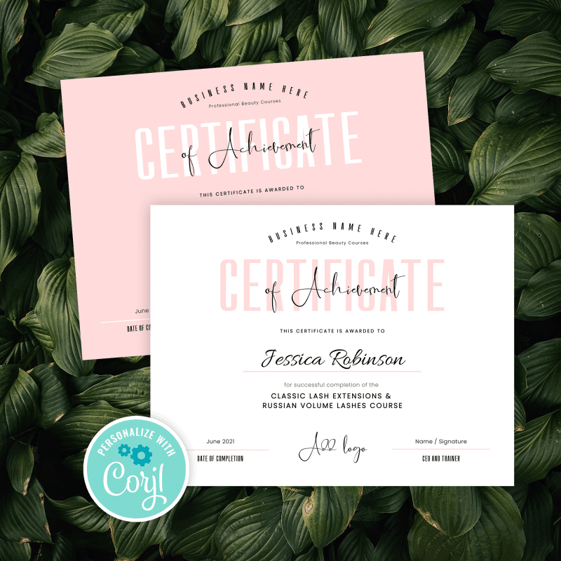 certificate of achievement template with pastel pink design