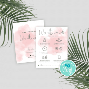 wax melts care instructions template with pink watercolor background effect