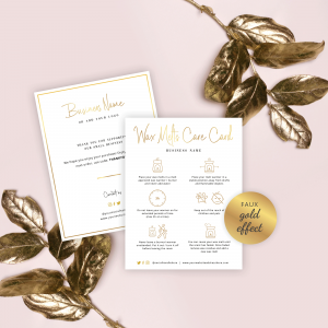 wax melt care note template with faux gold text overlay