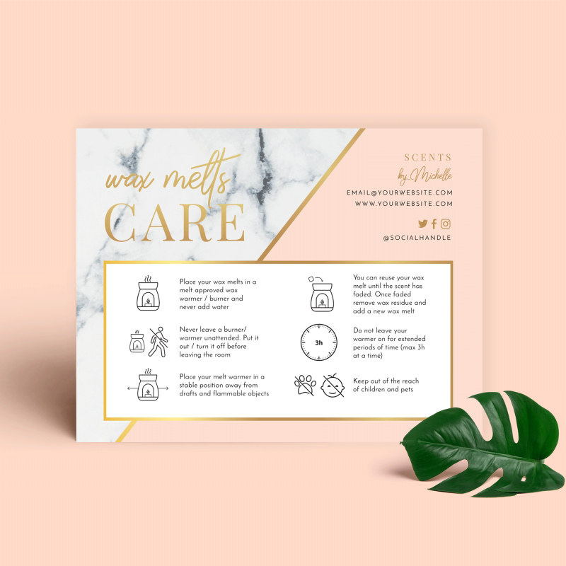 wax melt care card template with marble and gold effect
