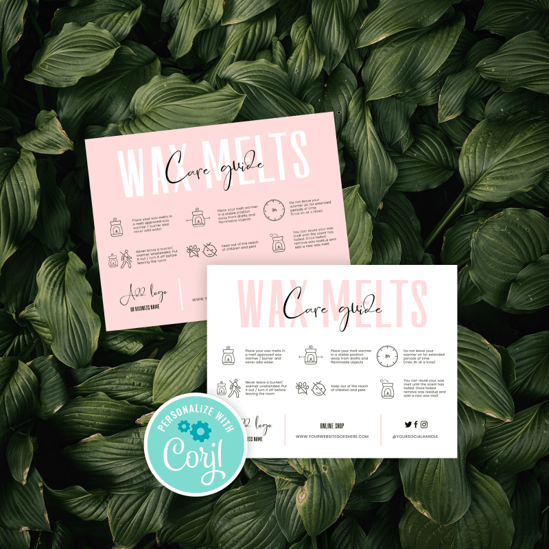 pastel pink wax melts card template