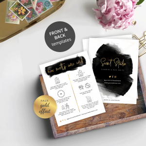wax melts care guide with black watercolor and gold effects