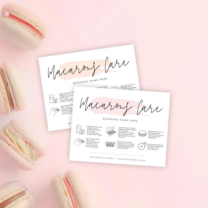 macarons care card template