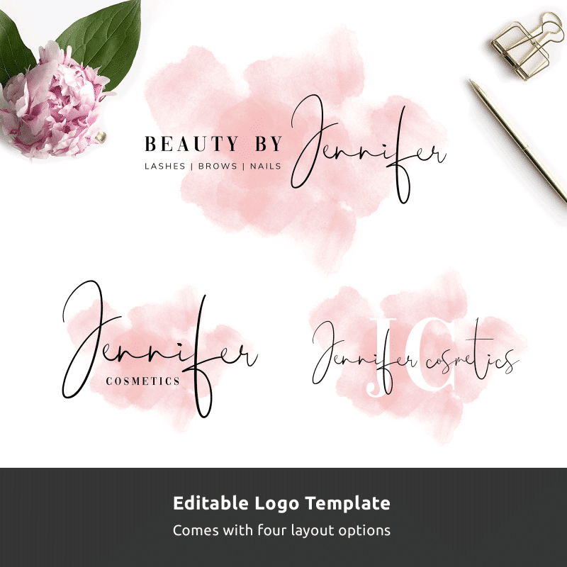 beauty logo templates with pink watercolor