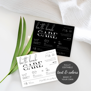 bath bombs care card template