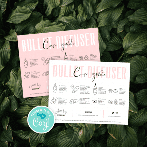 bullet diffuser care card template