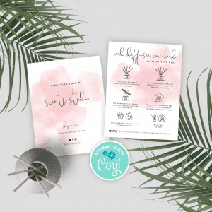 printable diffuser care card template