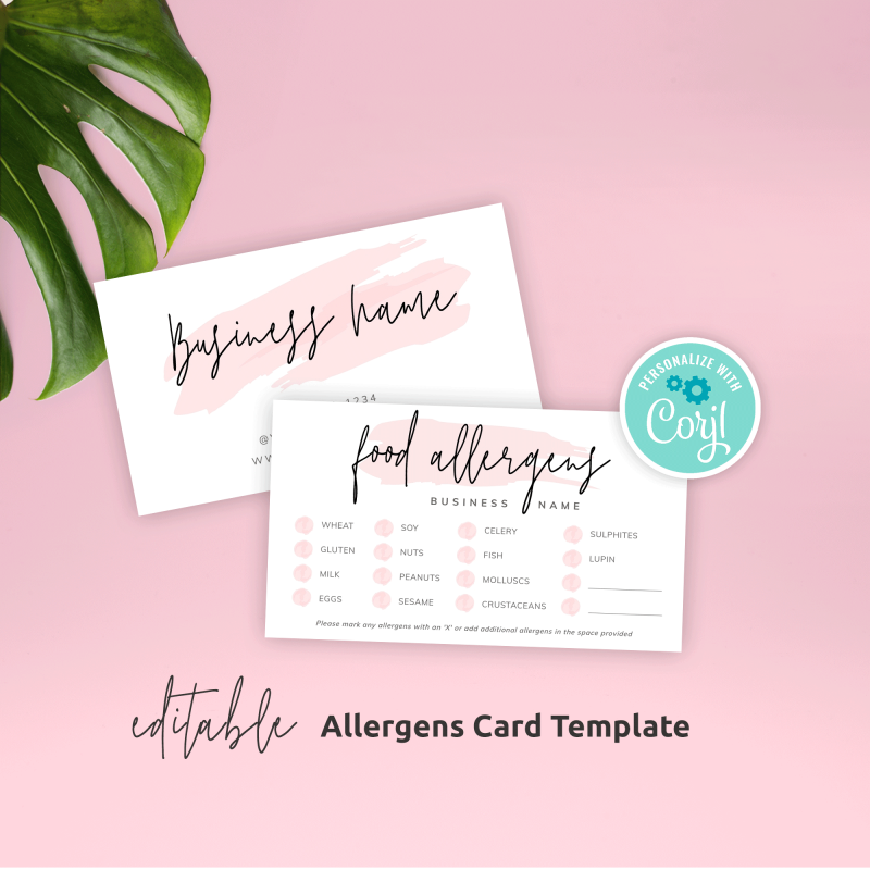 Food allergens card template
