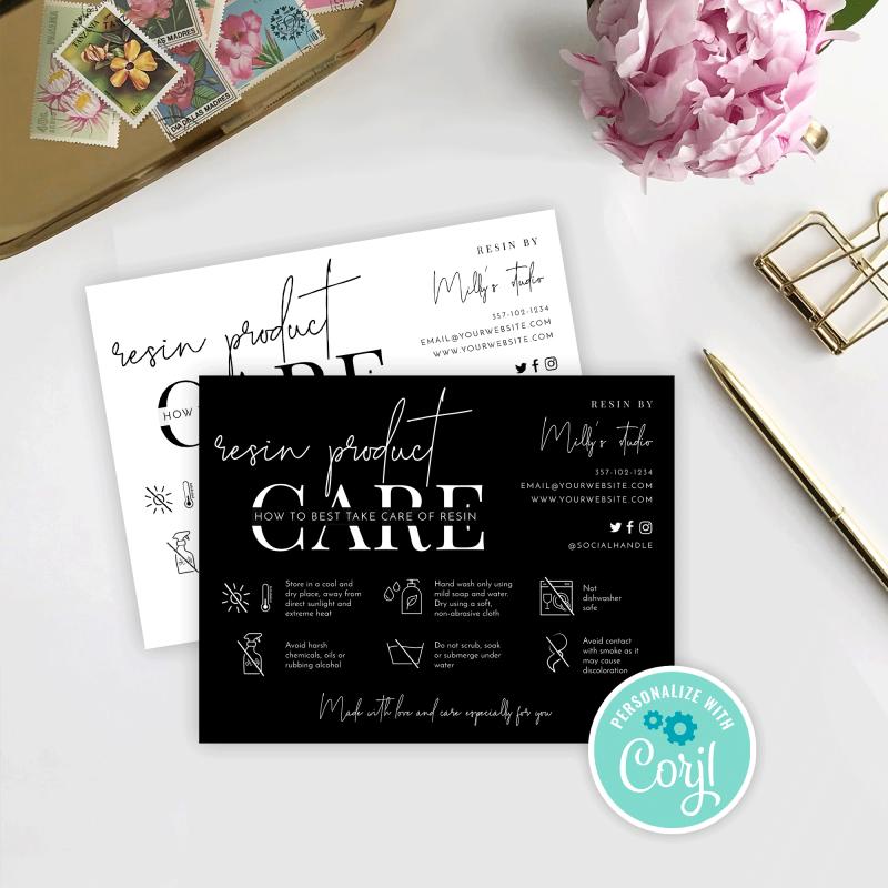 resin care card template
