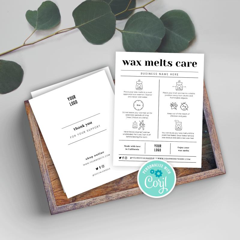 Wax Melts Safety Card Template