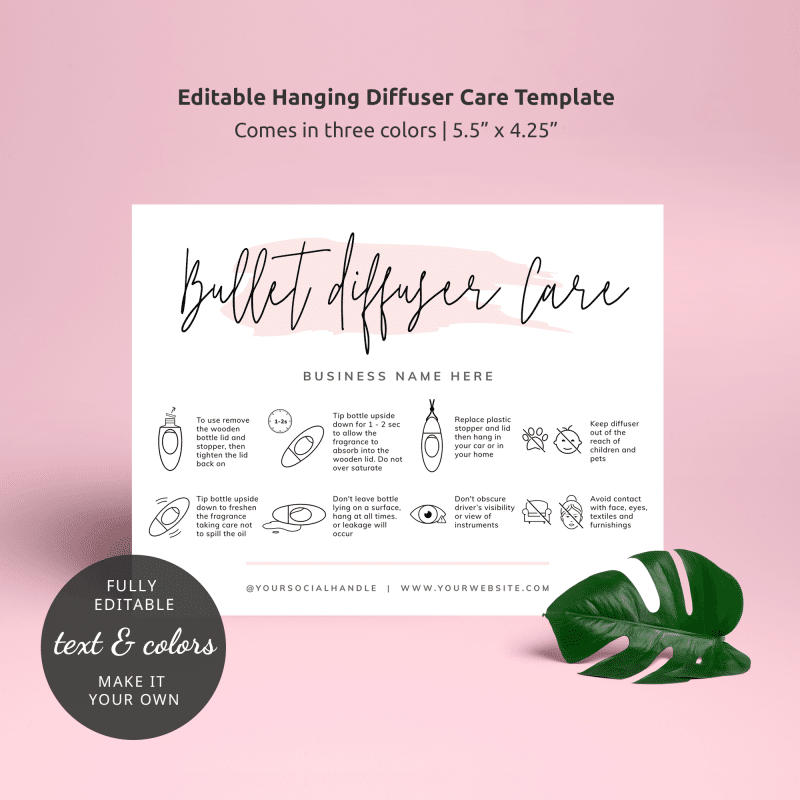 Hanging Diffuser Care Card