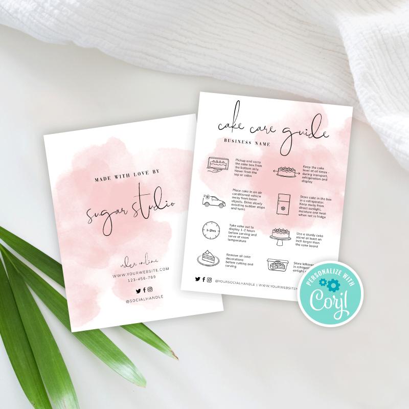 editable cake care card template pink watercolor