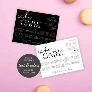 Cake Care Guide Template