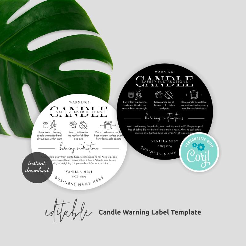 Editable Candle Warning Label