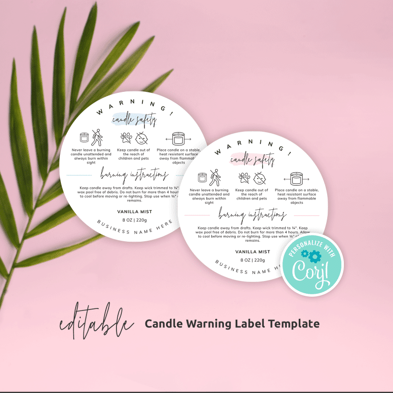 Candle Warning Label Template