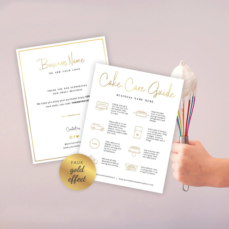 cake care card template with faux gold effects