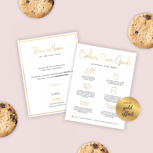 cookies care guide template with faux gold effects