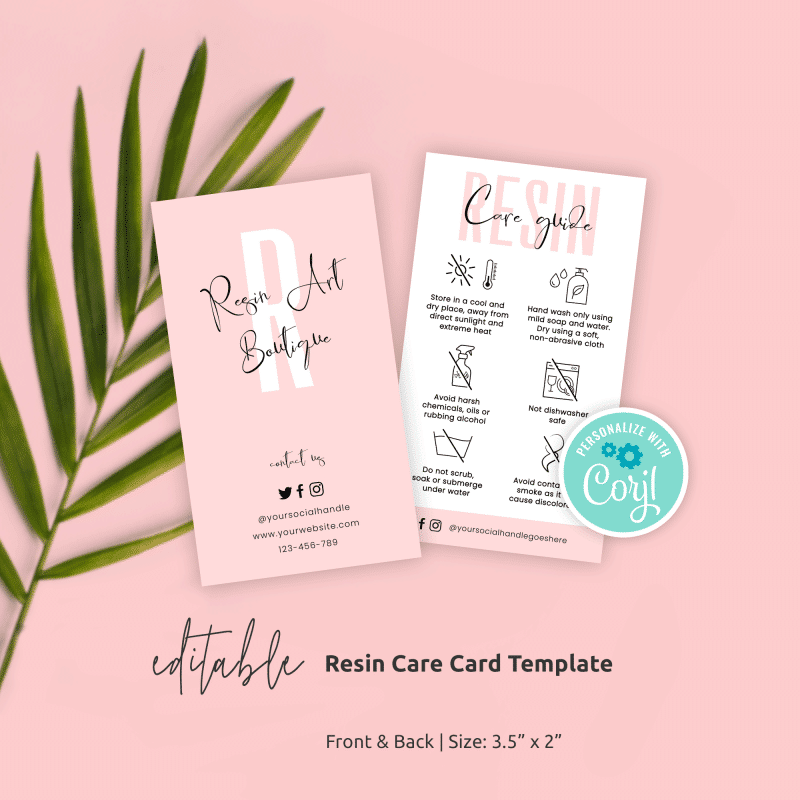 resin care guide template with patel pink and white effects