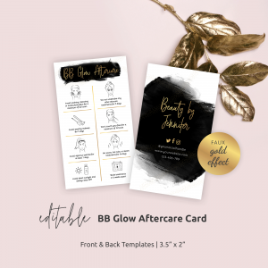 BB Glow Aftercare Card Template