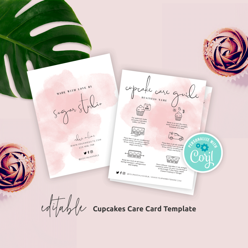 Editable Cupcake Care Card Template