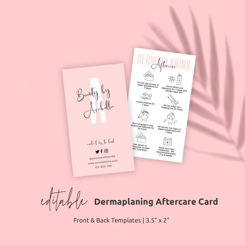 Dermaplaning Aftercare Card Template