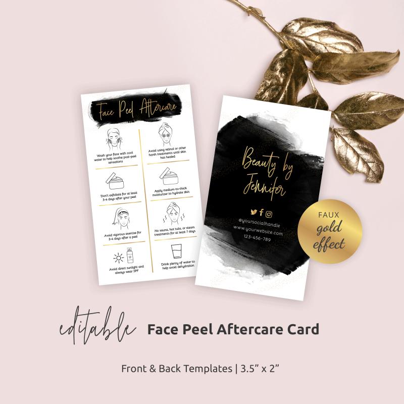Face Peel Care Card Template