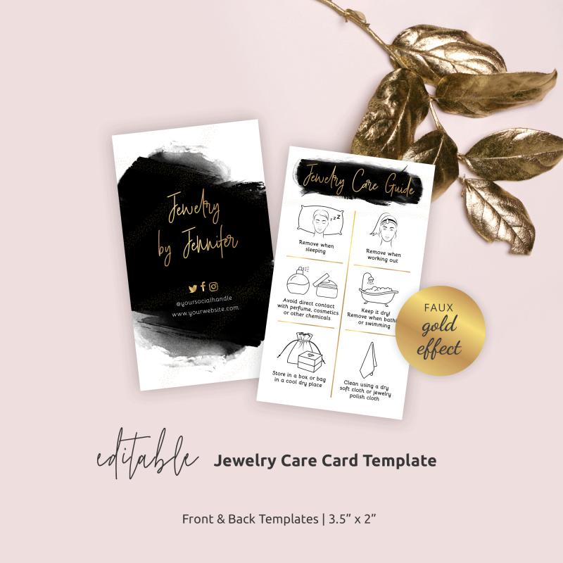 jewelry care card template
