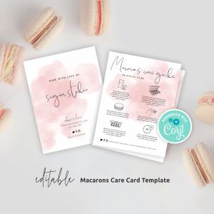 Editable Macarons Care Guide Template