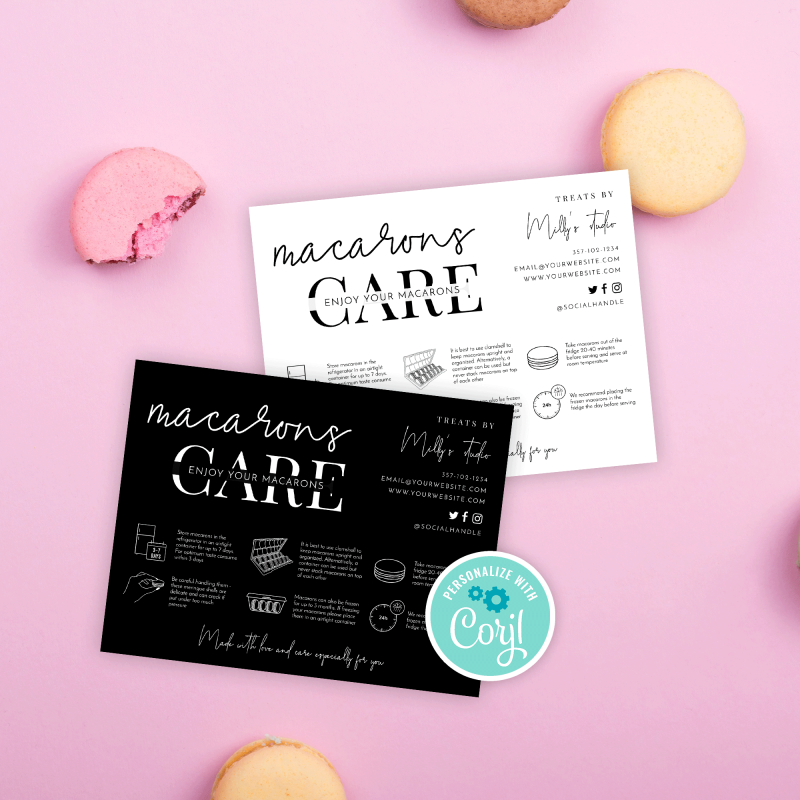 Macarons Care Note Template