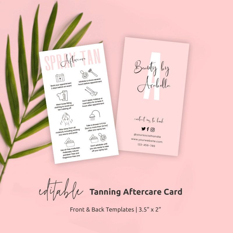 Spray Tanning Aftercare Card Template