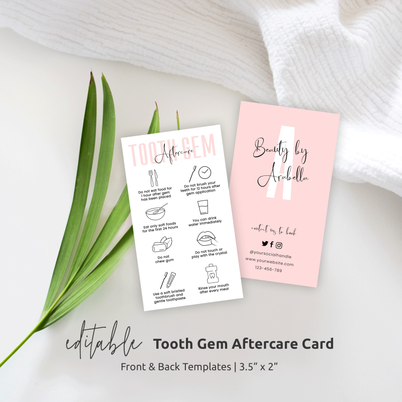 Tooth Gem Aftercare Card Template