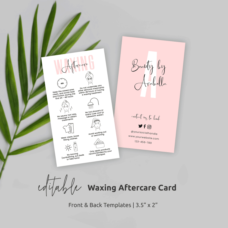 waxing aftercare card