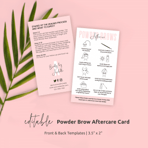 Ombré Powder Brows Aftercare Card Template