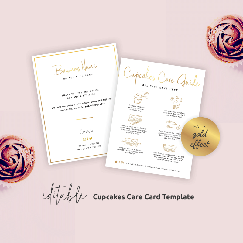 Cupcakes Care Card Template with Gold effects